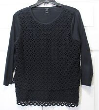 J. Crew Women's Black Circle Lace Top Size Medium