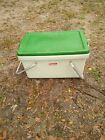 Vintage plastic 1970's style ? Coleman Picnic Cooler green with aluminum Handles