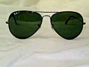 Authentic Rayban Italy 3025 Large 62-14 140mm Polarized Black Aviator Sunglasses