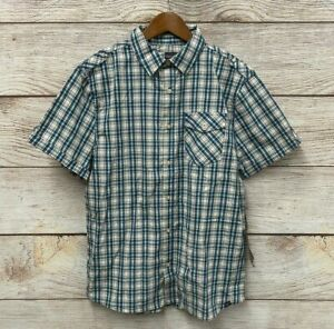 Industry Shirt Mens Size Large Blue & Green Check Poplin Button Front Shirt New