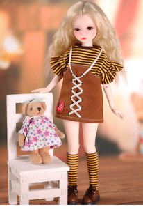 Lace up skirt stripe suit T-shirt suspenders shorts 1/3 1/4 1/6 BJD doll Clothes