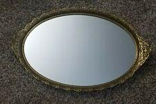 "Vintage Gold Ormolu Tray Filigree Flowers Handle Oval 18"" Mirror Vanity/Perfumes"