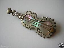 Antike Brosche mit Perlmutt Geige,Violine Streichinstrument 6,5 g / 5,6 x 2,0 cm