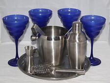 COMPLETO 11 Pezzi Set da Cocktail con vassoio e vintage 4 Bicchieri Da Martini blu-in buonissima condizione