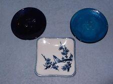 Set of 3 Glass Trinket Dishes - Bird/Royal Blue/Turqouise