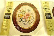 (2) Vintage Crewel Embroidery Kits Flowers * 145 Vanson