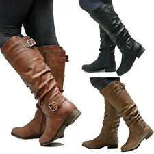 Womens Leather Flat Mid Calf Boots Ladies Buckle Zip Winter Casual Shoes Size