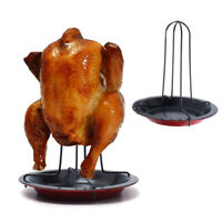 BE_ Carbon Steel BBQ Roasting Tool Non-stick Chicken Holder Rack Grill Stand