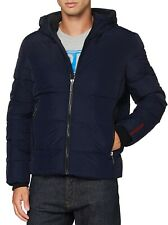 Superdry Mens Sports Quilt Hooded Zip Up Puffer Jacket Padded Winter Coat Navy