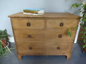 Lovely Antique Wood Wooden Oak Two Over Two Chest Of Drawers