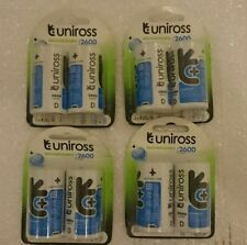 Uniross D Cell Size HR20 LR20 MN1300 NiMh Rechargeable Batteries 2600mAh x 8