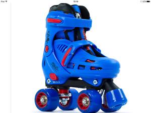 SFR Storm 1V Adjustable Size Quad Skates Blue Red