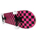 "PRO Skateboard Complete Pre-Built CHECKER PATTERN Black/Pink 7.75"""