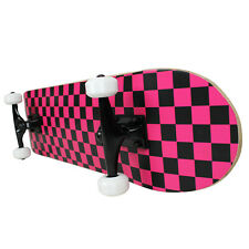 PRO Skateboard Complete Pre-Built CHECKER PATTERN Black/Pink 7.75""