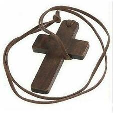 Women Men Fashion Wooden Jewellery Wood Cross Pendant Sweater Decor Necklace New