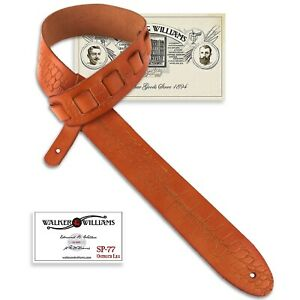 Walker & Williams SP-77 Tiger Tan Italian Leather Strap with Ostrich Leg Tooling