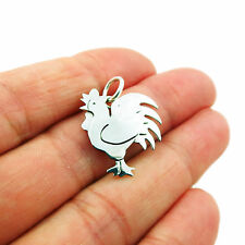 Cockerel Rooster 925 Sterling Silver Bird Pendant