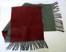 "MEN'S REVERSIBLE TWO-TONED CASHMERE WOOL SCARF Gray/ Maroon, 11""x52""  3"" Fringe"