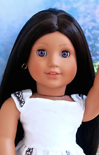 OOAK American Girl Historical Josefina Doll Long BEAUTIFUL Custom Wig Purple Eye