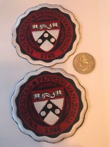 "(2) UNIVERSITY OF PENNSYLVANIA embroidered iron on patch Lot 3"" X 3"""