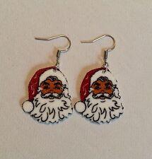 African American Black Santa Claus Christmas Earrings HANDMADE PLASTIC CHARMS