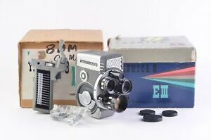 EXC++ TESTED, CLEAN, BOXED YASHICA 8 EIII 8mm MOVIE CAMERA, 3 LENSES+GRIP+MANUAL