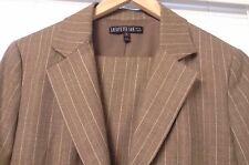 Lafayette 148 New York LINED Brown Wool Pinstripe Blazer Jacket Pants Suit Sz 6