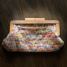 Vintage RARE Woven Crochet Colorful Purse Wood Handle Clutch Purse ART