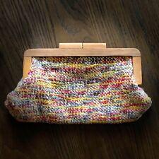 Vintage RARE Woven Crochet Colorful Purse Wood Handle Clutch Purse ART