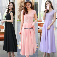 Korean Women Chiffon Lace Empire Waist Slim Summer Party Beach Long Maxi Dress