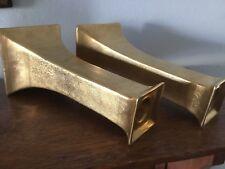 "EPIAG ROYAL CZECHOSLOVAKIA Art Deco  7 3/4"" Gold Luster Candlesticks Floral Band"