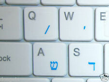HEBREW TRANSPARENT Keyboard Stickers BLUE Letters Fast Free Postage