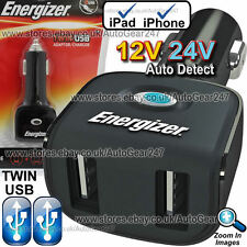 Energizer 12v 24v Car Van Lorry Truck Bus iPad iPhone Twin USB Adapter Charger