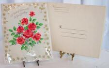 Vintage Volland Birthday Large Greeting Card Unused w/Mailing Box Roses Flowers