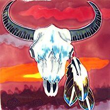 "Western Southest Art Tile ""Cow Skull"" 8x8 Wall Shelf Gift Home Ranch Farm Decor"