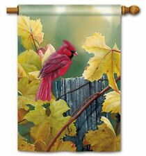 "GRAPEVINE CARDINAL ON FENCE LARGE GARDEN BANNER FLAG 28""x 40"" AUTUMN FALL DECOR"