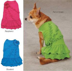 Rosette Ruffle Dog Dress Zack & Zoey  pink green blue dresses