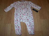 Size NB Newborn Girls Infant Footed One-Piece Sleeper Winter Mittens Hat Pink
