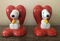 """Vintage Heart Shaped Book Ends Peanuts""""SNOOPY & WOODSTOCK"""" C.1958-1965 Syndicate"""