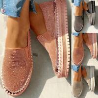 Damen Slipper Loafers Slip On Strasssteine Flache Schuhe Freizeit Halbschuhe