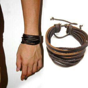 Punk Genuine Leather Bracelets Hip hop Wristband Couple Adjustable Cowboy