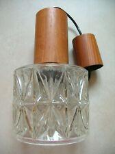 Ancien lustre suspension plafonnier luminaire en verre et bois
