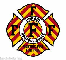 """Firefighter Decals - CHEVRON Fighting Fire for Free 2"""" Helmet Reflective decal"""