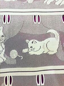 """2 Identical French Filet Lace CURTAIN Panels KITTENS White 17"""" W x 71 Inch CAT"""