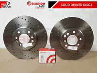 FOR FORD FOCUS 2.0 ST250 REAR DRILLED PERFORMANCE SOLID BRAKE DISCS BREMBO PADS
