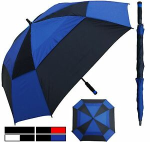"60"" Arc Square Windbuster Fiberglass Auto Golf Umbrella -RainStoppers Rain/Shine"