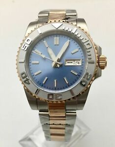 40mm Blue Dial week Sapphire Glass Japan NH36 Automatic Men's Watch Steel Band