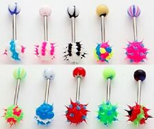"colors and designs 5/8"" 14g 5 pc Wild Style Koosh Tongue Rings Mixed"