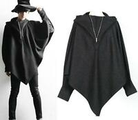 Men's Loose Sleeve Hooded Black Casual Coat Cloak Casual Poncho Cosplay Jacket