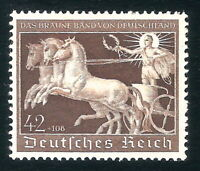 DR Nazi 3rd Reich Rare WW2 Stamp 1940 Hitler's Horse Racing Brown Ribbon Germany